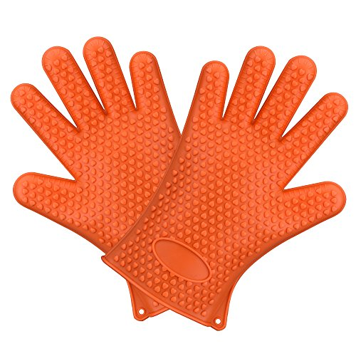 Best Deals! Homitt BBQ Grilling Gloves, Silicone Heat Resistant Oven Mitts & Hot Pads, Insulated...