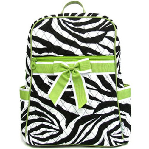 Small Quilted Zebra Print Backpack Purse (Green)
