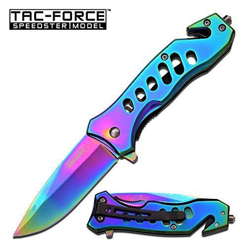 "Master Cutlery TF-844 Tac-Force 3.75"" Folder, Rainbow Finished Stainless Steel Blade and Handle with Pocket Clip"