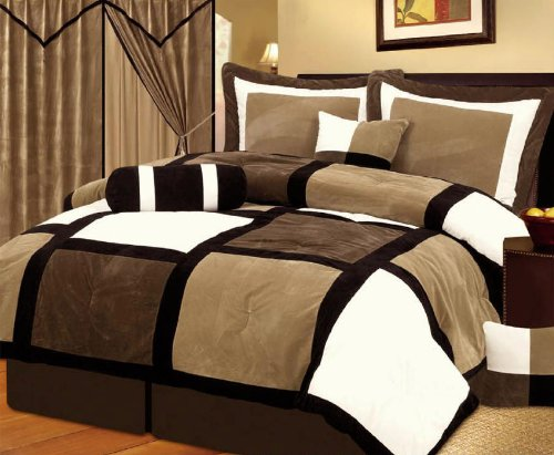 7 Pieces Black, Brown, and White Suede Patchwork Comforter Set / Bed-in-a-bag California-cal King Size Bedding