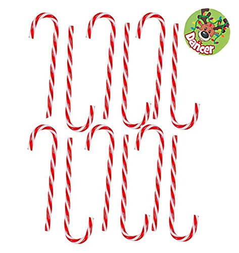 Set of 12 Large Red and White Striped Plastic Candy Cane Ornaments
