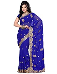 Deepika Saree Embroidered Saree With Blouse - B00MFGVJPC