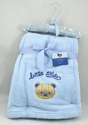 Little All Star - Ultra Soft Embroidered Baby Blanket - Baby Blue - 30x40 Inches