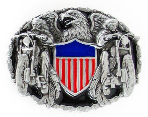 Pewter Belt Buckle - Two Bikers  American Shield