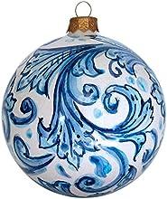Ghenos - Pallina per albero di natale. Modello tondo, decoro barocco.
