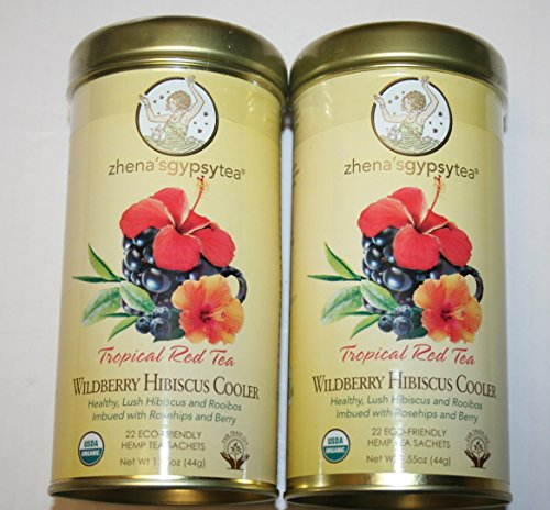 Zhena'S Gypsy Tea Tropical Red Tea 22 Eco-Friendly Hemp Tea Sachets Pack Of 2