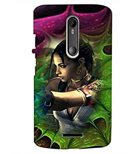 PrintDhaba Bold Girl D-4618 Back Case Cover for MOTOROLA MOTO X3 (Multi-Coloured)