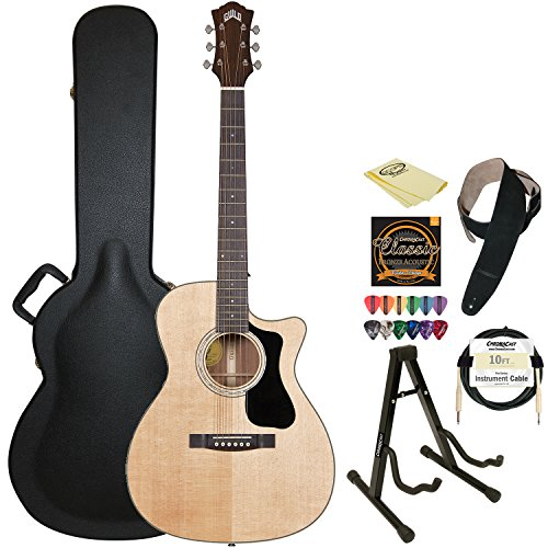 Guild F-130-Ce Natural Orchestra-Style Acoustic Electric Guitar With Guild Hard Case, Chromacast Strings, Stand, Picks, Cable, Strap And Polish Cloth