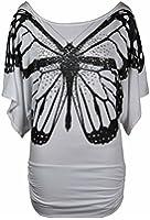 Purple Hanger - T-Shirt Femme Extensible Manche Chauve Souris Courte Froncé Motif Papillon Paillettes Grande Taille Neuf