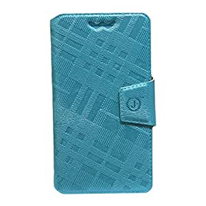 Jo Jo Cover Krish Series Leather Pouch Flip Case With Silicon Holder For Celkon A40 Light Blue