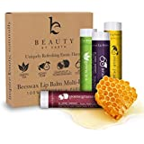 LIP BALM Uniquely Refreshing Exotic Flavors (4 Pack) - Beauty by Earth 100% Natural Beeswax Lip Care with Coconut Oil &Vitamin Moisturizer to Repair Dry and Chapped Lips - Made in the USA