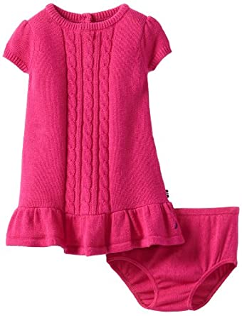 Nautica Baby-Girls Infant Solid Cable Sweater Dress, Bright Pink, 12 Months