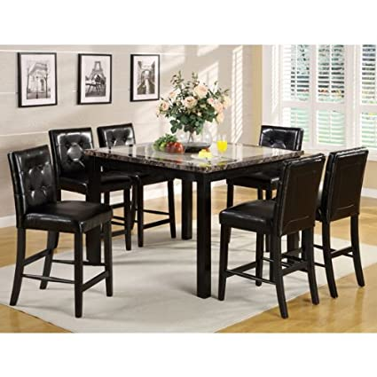 Atlas 5-Piece Faux Marble Top Counter Height Table Set
