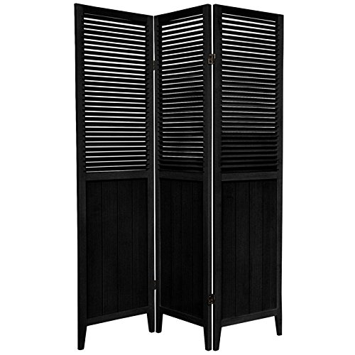 Oriental Furniture 6 ft. Tall Beadboard Divider - Black - 3 Panels (Louvered Folding Screen compare prices)