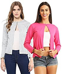 Skidlers Women's Shrug (Pack of 2) (SKD-9-MELANGE-9-PINK-COMBO_Multi-Coloured_Free Size)