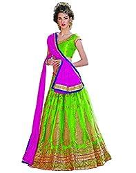 DesiButik's Wedding Wear Ravishing Parrot Green Net Lehenga