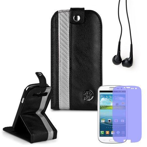 Reinforced Samsung Galaxy S3 I9300 Leather Case Cover With Stand - ( Vangoddy Repetto Silver Carbon Fiber Design ) + Black Earbud Earphones + Custom Samsung Galaxy S3 Screen Protector