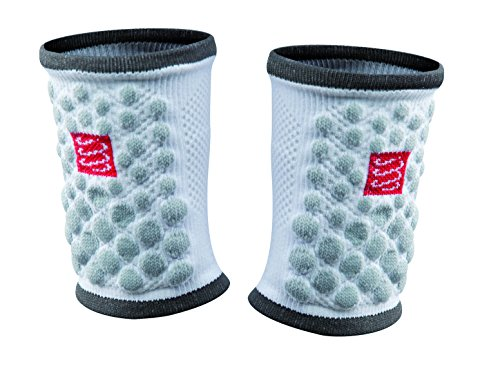 Compressport Sweat Band 3D Dots Polsino da Gara e Allenamento, Bianco