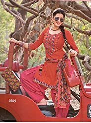 Fashion Bizzare Punjabi Style Printed Red Top and Magenta Bottom Fine Cotton with embroidery on Shirt and fulkari print dupatta Dress Material MY16009
