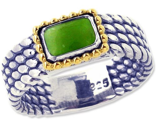 Sterling Silver and 14K Octagon Gemstone Full Bead-Detailed Ring-Jade-in full,half,quarter sizes from 5 to 9_6.75