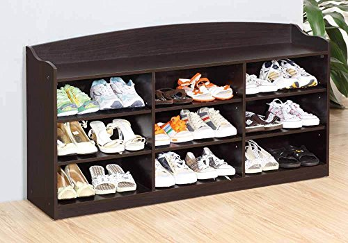 1PerfectChoice Hallway Entryway Shoe Storage Cabinet Racks Organizer Bench Seat Wood Red Cocoa