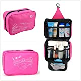 ONOR-Tech Portable Multi-Functional Waterproof Travel Toiletry Wash Cosmetic Bag Makeup Storage Case Hanging Grooming Storage Bags (Rose Pink)