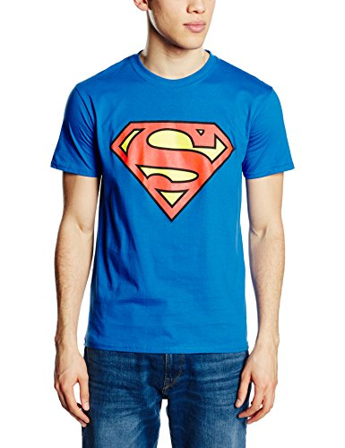 DC Comic Superman Logo-T-shirt  Uomo    Blu reale X-Large
