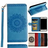 [Off to College]For iPhone 7 Wallet Case,Valentoria Mandragora Flower Premium Vintage Emboss Leather Wallet Pouch Case with Wrist Strap for iPhone 7 (iPhone 7, Turquoise)