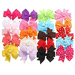 TinkSky 20pcs Hair Bows-15 Pure Color+5 Polka Dot- Alligator Clip Grosgrain Ribbon Headbands for Baby,Girls and Young Women