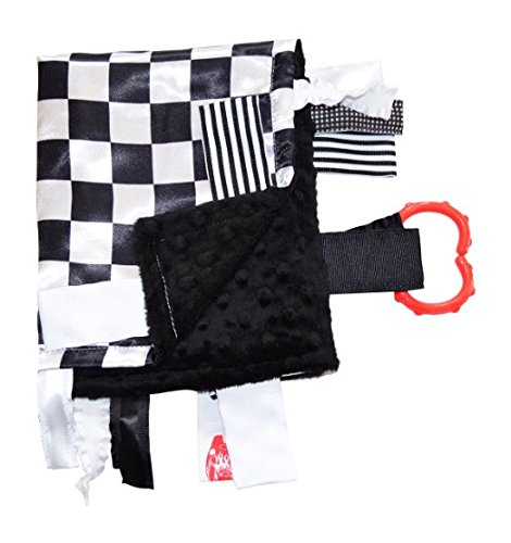 "Sensory Baby Tag Blanket, Racing Checkered Flag Lovey for Any Nascar Fan, 14"" X 18"". For Entertainment, Security, Comfort. Also Used for Special Needs, Autism, Therapy. Ribbons Sewn Shut Into Tabs for Added Security. Made in USA By Baby Jack Blankets"