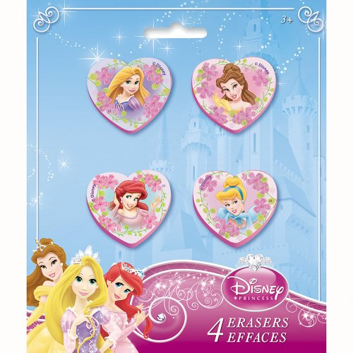 Heart-Shaped Disney Princess Erasers, Assorted 4ct