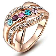 buy Beydodo Gold Plated Women Rings (Engagement Rings) Round Cubic Zirconia Size 8 Rose Gold
