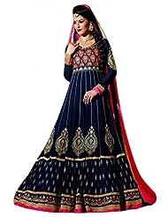 Stylelok Blue Georgette Unstitched Anarkali Suit Sl 175012080