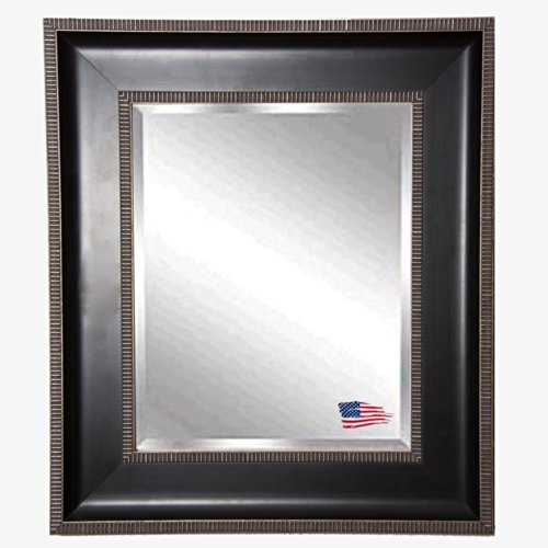American Made Rayne Black And Silver Caged Trim Beveled Wall Mirror, 36.25 X 40.25 front-693042