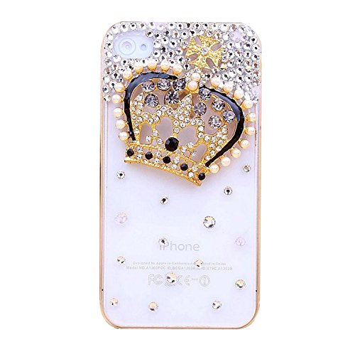 Per Apple iPhone 4s Custodia, Moonmini® Handmade Luxury Bling 3D Crystal Diamond Strass (Rhinestone) Diamond Transparent Case Cover Custodia Per Apple iPhone 4 4S 4G - Crown