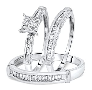 1 Carat T.W. Princess, Baguette Cut Diamond Women's Engagement Ring, Ladies
