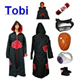 512hsDuWFoL. SL160  Naruto Itachi Tobi cosplay costume set (Akatsuki Cloak Hood + Anti Leaf Itachi headband+ Naruto Tobi mask + Tobi (Uchiha Madara) ring + Naruto shoes), size XXL (Height 511   61)