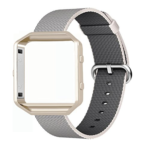 Fitbit Blaze Bands, FanTEK Woven Nylon Watch Band Strap Accessories with Metal Frame For Fitbit Blaze Smart Fitness Watch (White)