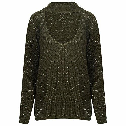 womens-ladies-long-sleeve-laurex-glitter-high-chocker-v-neck-knitted-jumper-top-x-large-khaki
