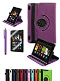 """Amazon Kindle Fire HDX 7"""", CINEYO(TM) 360 Degree Rotating Stand Case Cover with Auto Sleep / Wake Feature for Amazon Kindle Fire HDX (10 Colors)(will only fit Kindle Fire HDX 7"""" 2013) (Purple)"""