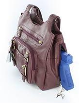 Wine / Burgandy Leather Right / Left Locking Concealment Purse CCW Carry Pistol Gun Bag