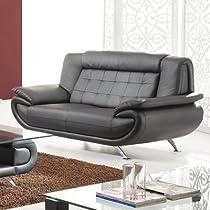 Big Sale Leather Loveseat Color: Black