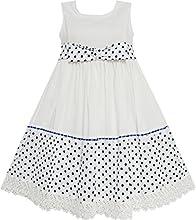 Sunny Fashion Girls Dress Dot Bow Tie White School