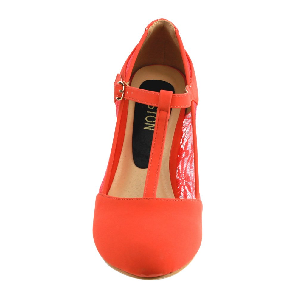Beston CD49 Women's Mid Heel Round Toe Lace T-Strap Dress Pumps 2