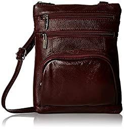 Roma Leather Genuine Leather Organizer Womens Crossbody Bag