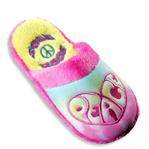 Image of Sole Kool - Ladies Tie Dye Peace Slipper, Pink, Multi 20002 (B0072V4K60)