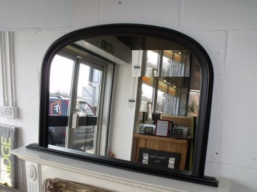 Classic French Inspired Black Overmantle Mirror with Elegant ARCHED Frame and complete with Premium Quality Pilkington's Glass - Overall Height: 31inches (78cm) Overall Width 47inches (122cm)