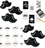 60 Pc Mustache Party Favors Set of (12) Moustache Notepads, (12) Mustache Whistles, (36) Mustache Finger Stache Tattoos