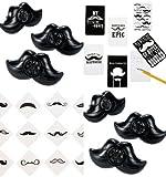 60 Pc Mustache Party Favors Set of (12) Moustache Notepads, (12) Mustache Whistles, (36) Mustache Finger Stache Tattoos