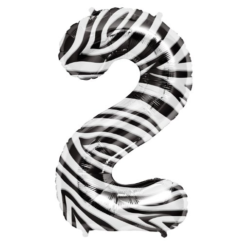 Number 2 - Zebra Helium Foil Balloon - 34 inch